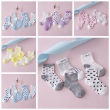 5 Pairs Baby Candy Colored Cotton Socks NewBorn Infant Toddler Kids Soft Socks