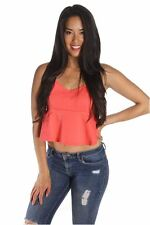 DEALZONE Trendy Strap Crop Top S M L Small Medium Large Women Pink Casual