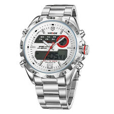 WEIDE MENS WRIST BAND WATCH SILVER METAL Model number WH3403 ANALOGUE/DIGITAL