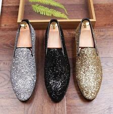 Flat Mens Sequin Dress Fashion Shoes Slip on Loafers Silver gold Casual Shoes Sz