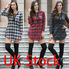 UK Womens Check Long Sleeve Lace-up Long Tops Mini Evening Cocktail Party Dress