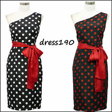 dress190 Black Polka Dot One Shoulder 50's Rockabilly Cocktail Ball Party Dress