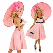 Ladies 50s Pink Vintage Rockabilly Pin Up Swing Fancy Dress Costume Outfit