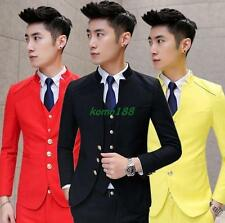 Mens Vest Pants coat Dress formal stage Suits slim fit wedding collar button