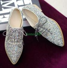 Womens oxford sequins bling bling lace up preppy girls shoes pointy toe size new