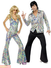Adults 1970s Retro Costume Mens Ladies Dancing Queen Fancy Dress Disco Outfit
