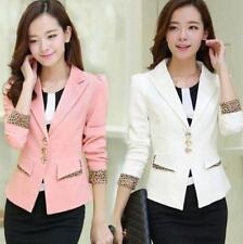 Fashion Slim Fit Womens Suit coat Leopard POLO Collar OL dress Blazers spring