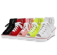 Womens peep Toe lace up Canvas Sandals Wedge Heels High Top Sneakers zip Shoes