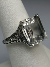 6ct Natural White Topaz Sterling Silver Victorian Filigree Ring {Made To Order}