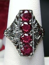 4Gem *Ruby* Solid Sterling Silver Edwardian/Victorian Filigree Ring Size Any/MTO