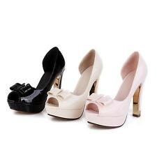 Womens Block High Heels Lolita Peep Toes Pu Faux Leather Wedding Shoes pumps