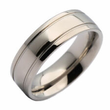 7mm Titanium Domed Polished Double Grooved Classic Wedding Band Ring