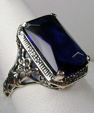 6ct*Blue Sapphire* Sterling Silver Floral Art Nouveau Filigree Ring Size Any/MTO