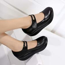 Womens Black Pumps Nurse strap Shoes Round Toe platform Wedge Heels Mary Jane sz