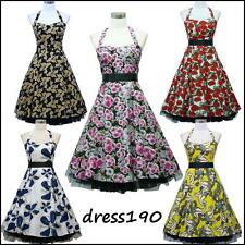 dress190 Floral Halterneck 50s Rockabilly Cocktail Swing Prom Ball Party Dress