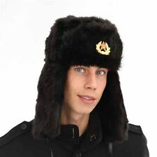 New Mens Ladies Unisex Faux Fur Trapper With Badge Winter Thermal Hat A792