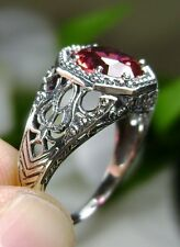 2ct *Red Ruby* Sterling Silver Victorian Filigree Ring Size: {Made To Order}
