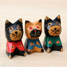 Traditional Handmade Wooden Carving Lucky Fortune Healty Cat Home Ornament Decor