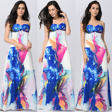 Womens Boho Hippy Sundress Summer Evening Party Strappy Bandeau Long Maxi Dress