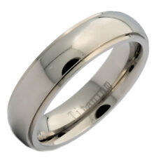 6mm Titanium Polished Dome Grooved Edge Classic Wedding Band Ring
