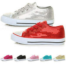Girls kids childrens lace up sparkly sequin party plimsolls trainers pumps size
