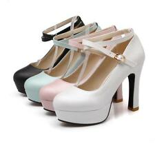 New Womens High chunky Heel Pumps Mary Jane Ankle Strap Buckle Platform OL Shoes