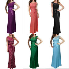 Graceful Women Lady's Lace Bowknot Backless V Formal Evening Party Long Dress