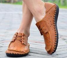 Mens casual lace up  Moccasins cow leather hollow out driving sandal shoes Y###
