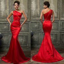 Mermaid One Shoulder Long Formal Evening Dress Satin Celebrity Party Prom Gown