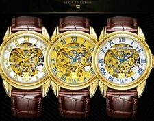 Men's Automatic Watch Golden Skeleton Wrist Mechanical Stainless Steel Leather