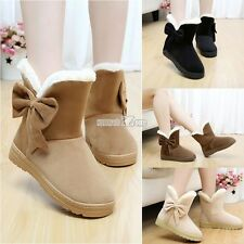 Women  Winter Snow Boots Warm Flat Heel Solid Bowknot Snow Boots Ankle S0BZ