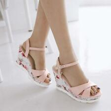 New Womens Floral Shoes Platform Wedge High Heel Open Toe Sandals ankle strap Y@