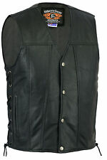 New Mens Motorcycle Harley Style A Grade Premium Leather Lined Vest Size S - 6XL