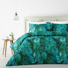 3 Pce Tropical Palms Leaf Quilt Doona Duvet Cover Set - DOUBLE QUEEN KING