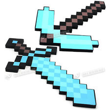 Minecraft Large Blue Diamond Sword Pickaxe EVA Weapons Plush Doll soft toys Blue