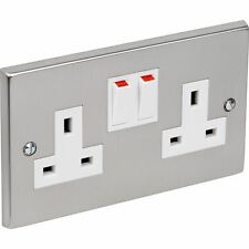 Socket Double Power Wall Switch 13A Chrome Effect Plug Socket Crabtree