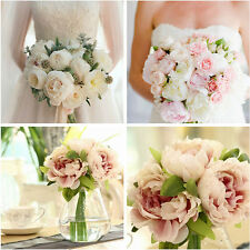 5 Heads Artifical Silk Peony Flower Bridal Wedding Bridesmaid Party Home Decor