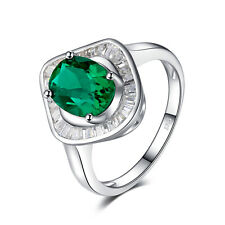 JewelryPalace 2ct Nano Russian Simulated Emerald luxury Ring 925 Sterling Silver