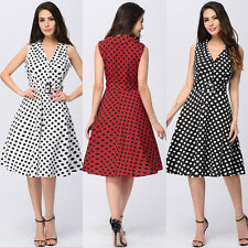 Plus Size 8-20 Ladies Summer Sleeveless Classic Polka Dot Vintage Skater Dress