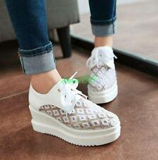 Womens lace up platform wedge heel casual stylish shoes sneakers plus creeper