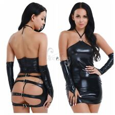 Sexy Women's PVC Leather Mini Dress Bodycon Caged Dress+G-String+Gloves Clubwear