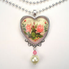 Pink Rose Heart Necklace Admiration Vintage Charm Graphic Art Jewelry