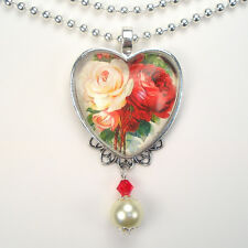 White & Red Rose Heart Necklace Love Pendant Vintage Charm Graphic Art Jewelry
