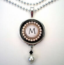 INITIAL LETTER M MONOGRAM VINTAGE CHARM SILVER OR BRONZE PEARL PENDANT NECKLACE