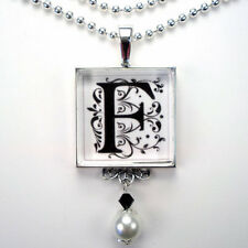 INITIAL LETTER F MONOGRAM VINTAGE CHARM SILVER OR BRONZE PEARL PENDANT NECKLACE