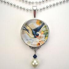 BLUE BIRD w LETTER BLUEBIRD OF HAPPINESS LOVE VINTAGE CHARM ART PENDANT NECKLACE