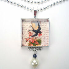 "BLUE BIRD w/ ROSES LETTER ""VINTAGE CHARM"" SILVER OR BRONZE PENDANT NECKLACE"