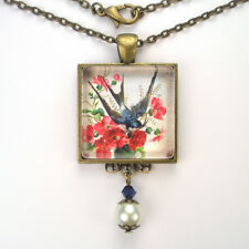 "BARN SWALLOW BLUE BIRD BRONZE OR SILVER PENDANT NECKLACE ""VINTAGE CHARM"" JEWELRY"