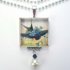 "BLUE BIRD & FORGET ME NOT ""VINTAGE CHARM"" SILVER OR BRONZE PENDANT NECKLACE"