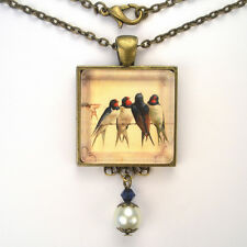 "BARN SWALLOW BIRD ART GLASS PEARL PENDANT BRASS NECKLACE ""VINTAGE CHARM"" JEWELRY"